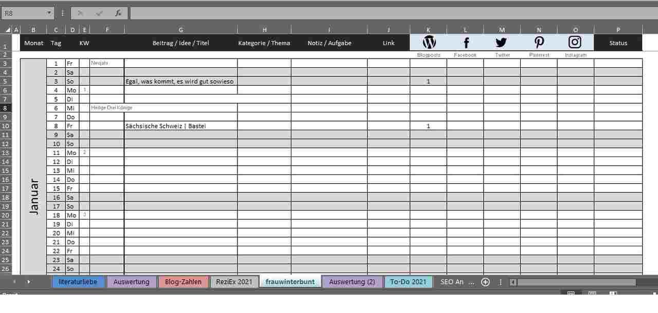 Redaktionsplan für die Beitragsplanung